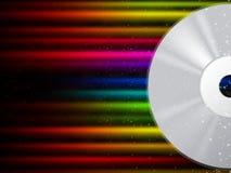 CD的背景显示光盘和五颜六色的射线 库存图片