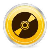 cd желтый цвет иконы круга Стоковое фото RF