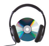 Cd&headphones Foto de Stock Royalty Free