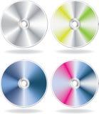 CD argenté, ensemble sur disque de DVD Image libre de droits