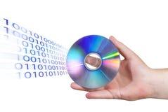 CD avec la binaire. thème d'affichage/écriture Photos stock