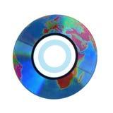 CD avec le globe dans la surface Photos stock