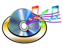 CD avec les notes musicales Images libres de droits