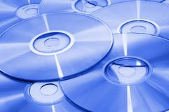 CD background. Cd\dvd backgroung toned blue Stock Image