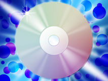 CD Background Means Listening To Songs And Blue Bubbles Royalty Free Stock Image