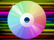 CD Background Shows Music Listening And Colorful Lines Stock Images