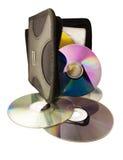 Cd blanc digital de dvd de fond de disques d'ordinateur Photographie stock