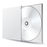 Cd in blank box. Blank CD or DVD disc in the box Royalty Free Stock Photos