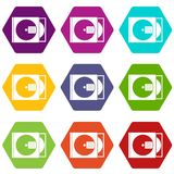 CD box with disc icon set color hexahedron. CD box with disc icon set many color hexahedron isolated on white vector illustration Stock Photo