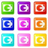 CD box with disc icons 9 set Royalty Free Stock Photo