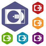 CD box with disc icons set hexagon Royalty Free Stock Images