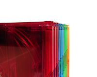 CD boxes. Colored CD boxes closeup, isolated Royalty Free Stock Photo