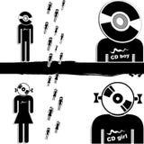 Cd boy. Cd girl and cd boy Stock Image