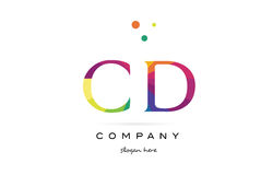cd c d creative rainbow colors alphabet letter logo icon royalty free illustration