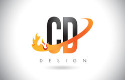CD C D Letter Logo with Fire Flames Design and Orange Swoosh. CD C D Letter Logo Design with Fire Flames and Orange Swoosh Vector Illustration Stock Photo