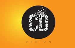 CD C D Logo Made delle lettere minuscole con il cerchio nero e la B gialla Fotografia Stock Libera da Diritti