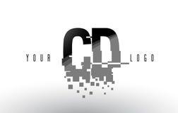 CD C D Pixel Letter Logo with Digital Shattered Black Squares Stock Image