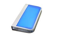 Cd case. Blue CD case isolated on white background stock photo