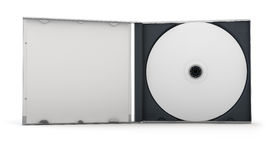 CD Case. Blank CD inside an open CD case. Clipping path included for easy selection Stock Photos