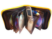 CD-case open. Concept for a CD-case with mobil phone instead one CD. Isolated with clipping paths Stock Image
