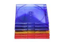 Cd-cases. Stacked empty cd-cases Royalty Free Stock Photo