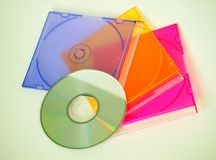CD and CD cases. Copact disc and cases stock photos