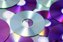 CD, CD-ROM and DVD. Closeup of a pile of CD, CD-ROM and DVD Stock Images