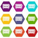CD changer icon set color hexahedron Stock Photo