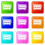 CD changer icons 9 set Stock Photos
