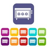CD changer icons set flat Royalty Free Stock Photos
