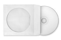CD con la caja de papel aislada fotos de archivo