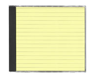 Cd cover. With yellow lined paper isolated on white stock photo