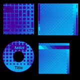 Cd cover blue design. Template for blue cd cover printed matter Royalty Free Stock Photos