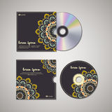 CD cover design template with floral mandala style. Stock Images