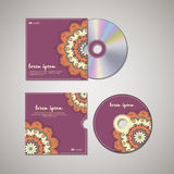 CD cover design template with floral mandala style. Royalty Free Stock Photography
