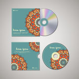 CD cover design template with floral mandala style. Royalty Free Stock Photos