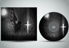 Cd cover template 3d vector with a angel praying infront of a dark grave stock illustration