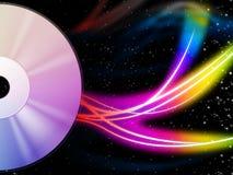 CD de Achtergrond betekent Muziek en Kleurrijke Wervelingen Stock Afbeeldingen