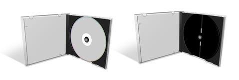 CD de blanc dans une caisse CD et le cas vide Images stock
