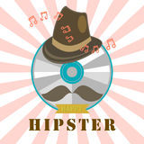 CD dei pantaloni a vita bassa e distintivo ed etichetta di musica Immagini Stock Libere da Diritti