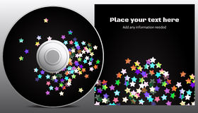 CD design. Disco stars style presentation of CD and envelope or box Stock Photo