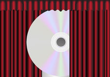 CD Disc behind Red Curtain vector illustration