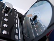 CD disc in stereo system royalty free stock photos