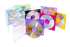 CD in the disclosed colored boxes Stock Photos