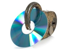 CD discs and padlock Stock Image