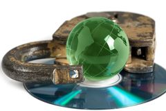 CD discs and padlock Royalty Free Stock Image