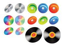 CD discs vinyl records. CD discs and vinyl records. Vector illustration stock illustration