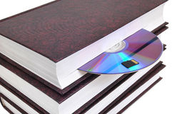 CD-disk embedded in a book and a memory card Stock Photos