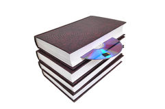 CD-disk embedded in a book and a memory card Royalty Free Stock Photography