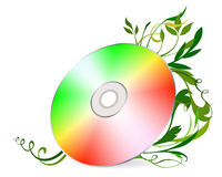 Cd-disk on floral background. Vector illustration Royalty Free Stock Photography